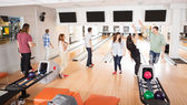 Friends Playing in Bowling Alley — Stock Photo