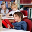 Relaxed Schoolboy Reading Book In Library — Stock Photo #31515899
