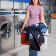 Upset Woman Holding Basket Full Of Dirty Clothes — Stock Photo