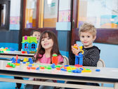 Little Children Playing With Blocks In Preschool — Stock Photo