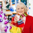 Beautiful Senior Woman In Christmas Store — Stock Photo