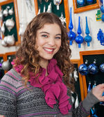 Woman Shopping Ornaments In Christmas Store — Stockfoto