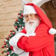 Santa Clause Standing Arms Crossed Outside House — Stock Photo