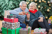 Happy Couple With Presents Sitting In Christmas Store — Stock Photo