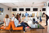 Friends Spending Leisure Time in Bowling Club — Stock Photo