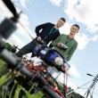 Technicians With Remote Controls Of UAV — Stock Photo