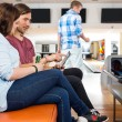 Couple Using Digital Tablet in Bowling Club — Stock Photo