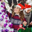 Woman Shopping For Christmas Decorations — Stock Photo