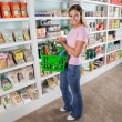 Woman Carrying Shopping Basket In Supermarket — Stock Photo