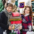 Happy Senior Couple Shopping In Christmas Store — Stock Photo