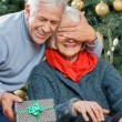Man Surprising Senior Woman With Christmas Gifts — Stock Photo
