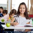 Schoolgirl Writing In Book At Classroom — Foto de Stock