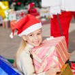 Happy Girl With Christmas Presents — Stockfoto