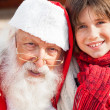 Boy And Santa Claus Smiling — Stock Photo