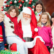 Happy Santa Claus And Children — Stock Photo