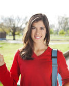 Beautiful Student Smiling On Campus — Stock Photo