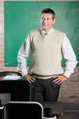 Teacher With Hands On Hips Looking Away In Classroom — Stock Photo
