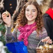 Beautiful Woman Shopping Ornaments At Christmas Store — Stockfoto