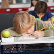 Tired Schoolboy Sleeping At Desk — Stockfoto