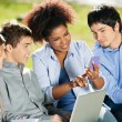 Stock Photo: Student Using Mobilephone While Classmates Looking At It