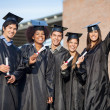 Students In Graduation Gowns Holding Diplomas On University Camp — Stock Photo #33074225