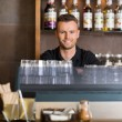 Smart Male Bartender At Counter In Cafe — Stock Photo