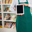 Owner Showing Digital Tablet In Store — Stock Photo