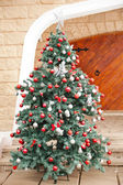 Christmas Tree In Front Of House — Stock Photo
