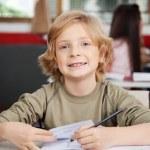 Ritratto di scolaro, scrivendo nel libro alla scrivania — Foto Stock #33165839