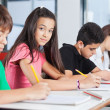 Teenage Girl Sitting With Classmates Writing At Desk — Stockfoto