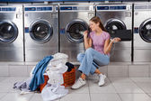 Woman Enjoying Music In Laundry — Stock Photo