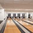 Pins At The End Of Bowling Alley — Stock Photo