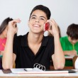 Teenage Male Student Using Phone In Classroom — Stock Photo