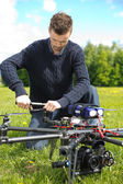 Technician Assembling Propeller Of UAV — Stock Photo