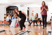 Friends Bowling in Club — Stock Photo