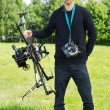 Engineer With UAV Drone And Remote Control — Stock Photo