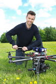 Engineer Fixing Propeller Of Octocopter — Stock Photo