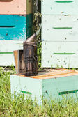 Bee Smoker At Apiary — Stock Photo