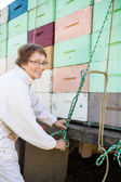 Beekeeper Tying Rope To Crates Loaded On Truck — Stock Photo