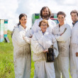 Team Of Confident Beekeepers At Apiary — Stock Photo