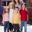 Cute Little Children With Teacher In Kindergarten — Foto Stock