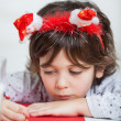 Boy Wearing Santa Headband Writing Letter To Santa Claus — Stock Photo