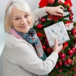 Senior Woman Holding Present By Christmas Tree — Stock Photo