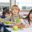 Schoolboy Sitting In A Row With Classmates At Classroom — Stockfoto