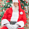 Santa Claus Sitting Against Christmas Tree — Stock Photo #33731977