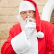 Santa Claus With Finger On Lips — Stock Photo