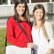 Beautiful Friends Smiling Together On University Campus — Stock Photo