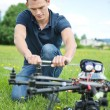 Engineer Fixing Propeller Of UAV Drone — Stock Photo
