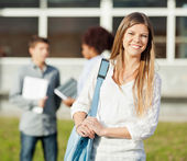 Happy Student Carrying Shoulder Bag Standing On College Campus — Stock Photo