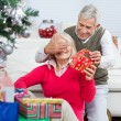 Happy Man Covering Woman's Eyes While Giving Christmas Gift — Stock Photo #33780713